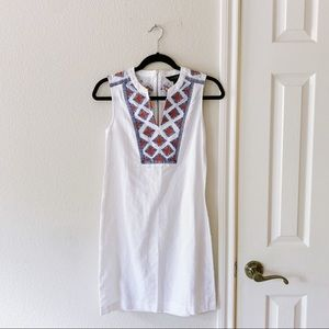 J.Crew White Linen Embroidered Shift Dress PXXS